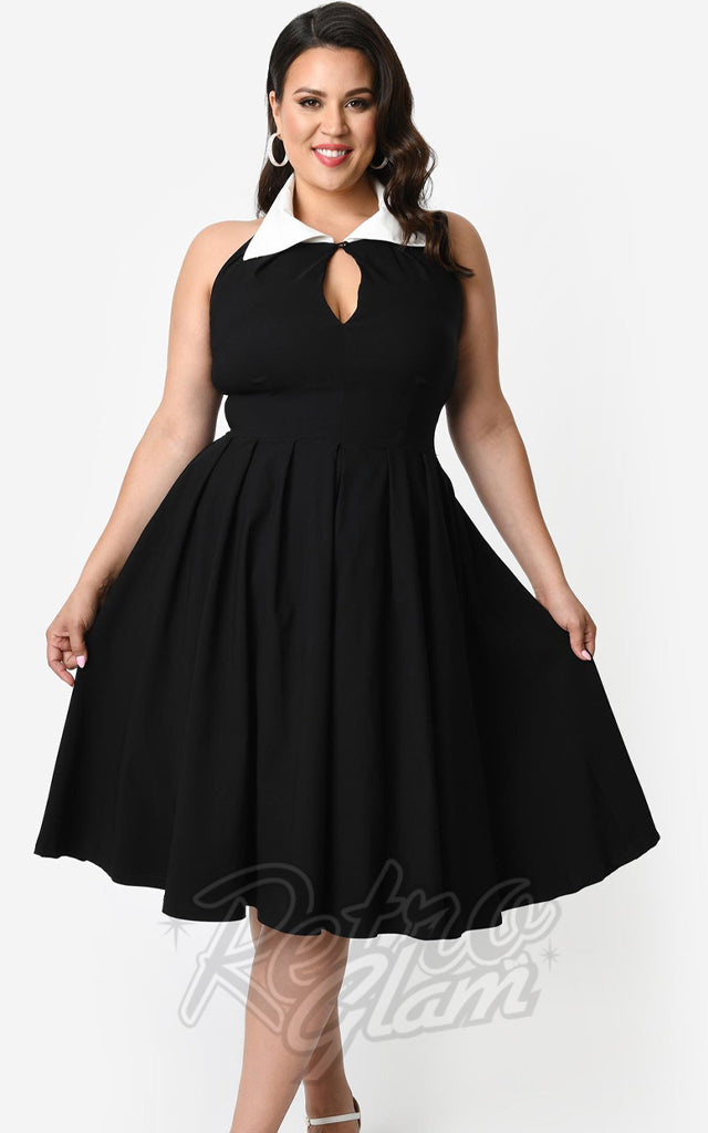 Unique Vintage Black Verdun Swing Dress with White Collar
