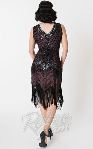 Unique Vintage 1920's Veronique Flapper Dress in Purple & Black back
