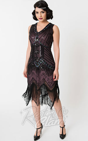 Unique Vintage 1920's Veronique Flapper Dress in Purple & Black