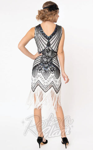 Unique Vintage 1920's Veronique Flapper Dress in White & Black back