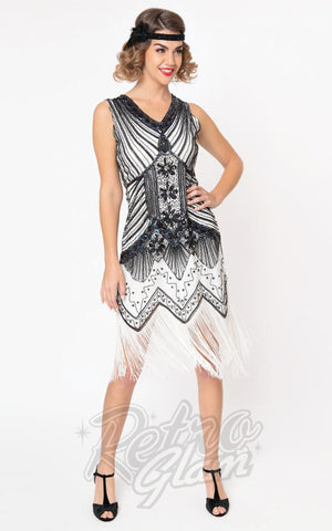 Unique Vintage 1920's Veronique Flapper Dress in White & Black