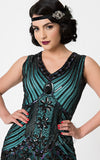 Unique Vintage 1920's Veronique Flapper Dress in Teal & Black detail