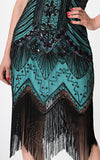Unique Vintage 1920's Veronique Flapper Dress in Teal & Black fringe