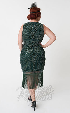 Unique Vintage Victoire Flapper Dress in Emerald Green curvy back