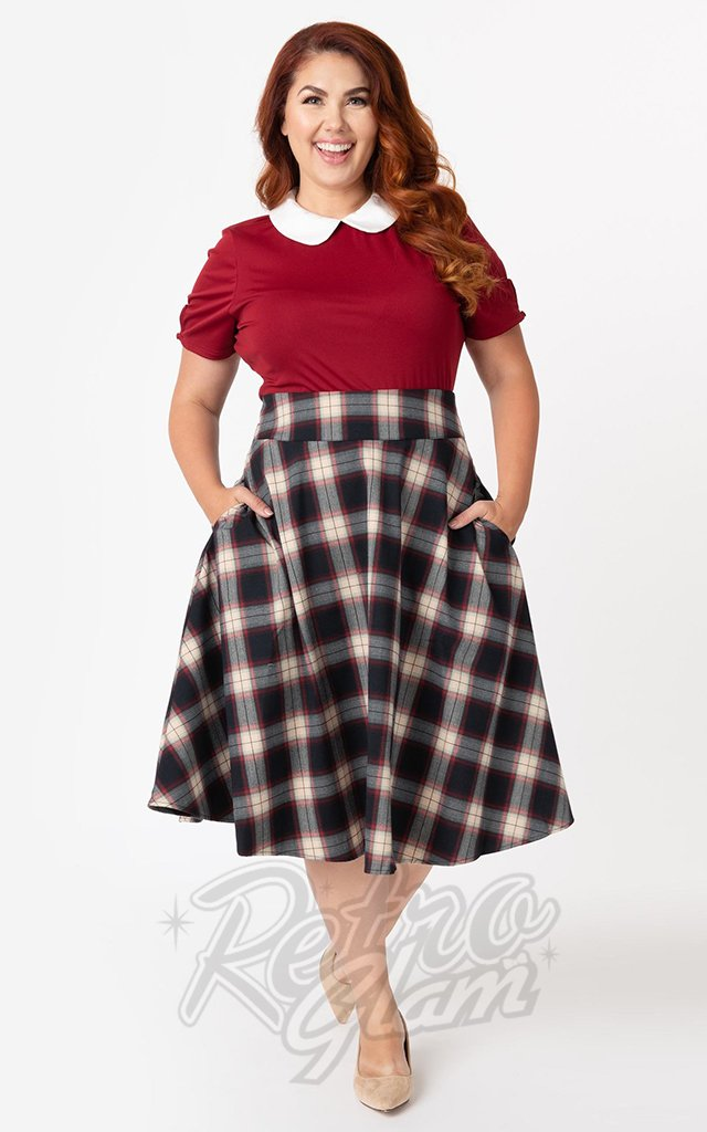 Unique Vintage Vivien Swing Skirt in Navy & Red Plaid
