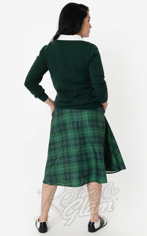 Unique Vintage Vivien Swing Skirt in Green Plaid back