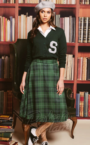 Unique Vintage Vivien Swing Skirt in Green Plaid model