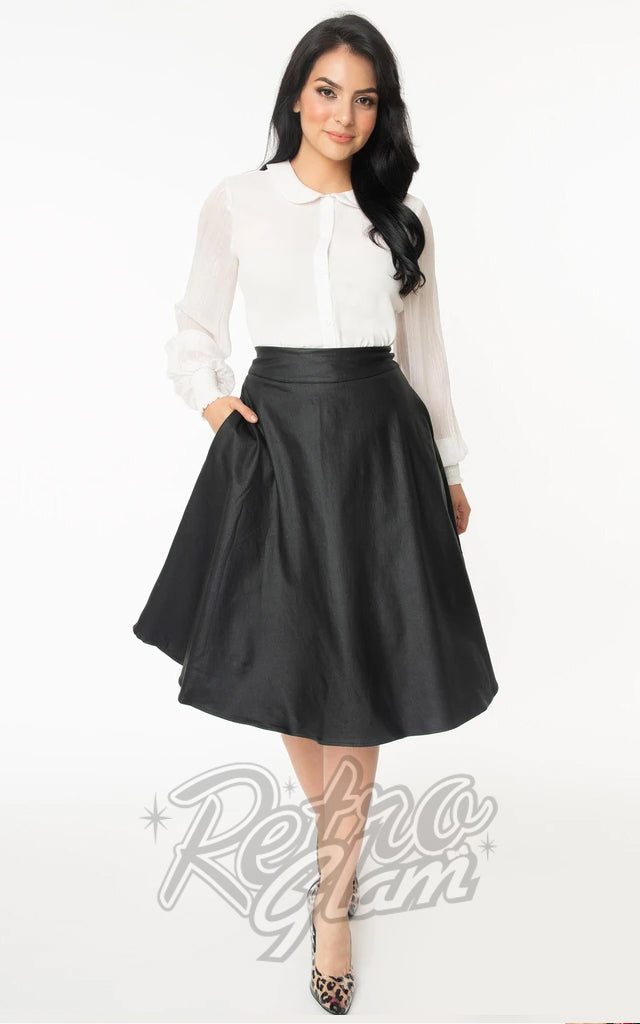 Unique Vintage Vivien Faux Leather Circle Skirt