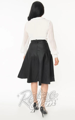 Unique Vintage Vivien Faux Leather Circle Skirt back