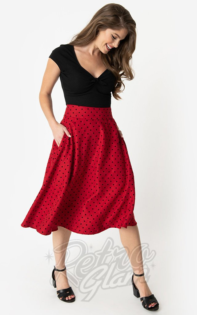 Unique Vintage Vivien Swing Skirt in Red & Black Polka Dot