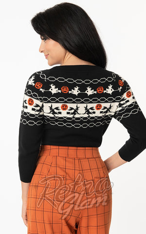 Unique Vintage Halloween Witch Pattern Lorelai Sweater back