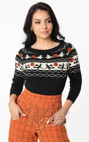 Unique Vintage Halloween Witch Pattern Lorelai Sweater