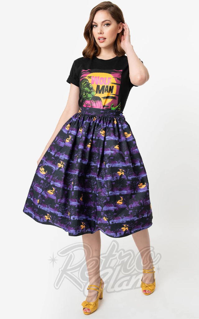 Unique Vintage The Wolf Man Swing Skirt