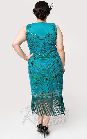 Unique Vintage Yvette Cocktail Flapper Dress in Teal curvy back
