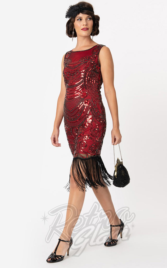 Unique Vintage Yvette Cocktail Flapper Dress in Red