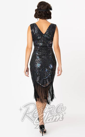 Unique Vintage Irridescent Beaded Zelia Flapper Dress back