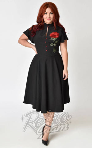 Unique Vintage 1950s black and 3D embroidered red rose Baltimore Swing dress