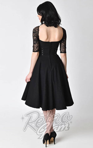 Unique Vintage 1950s lolita style black stretch and lace sleeve Crypt Swing Dress back
