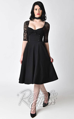 Unique Vintage 1950s style black stretch and lace sleeve Crypt Swing Dress