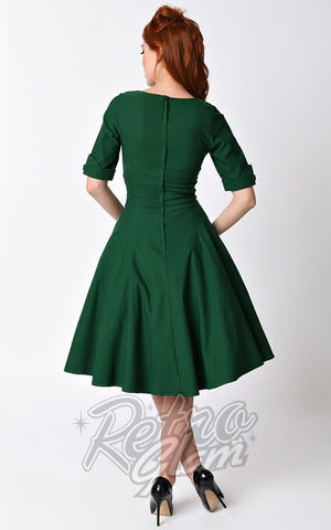 Unique Vintage 1950s Style Emerald Green Delores Swing Dress back
