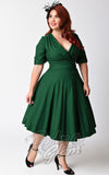 Unique Vintage 1950s Style Emerald Green Delores Swing Dress front