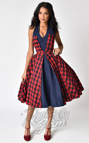 Unique Vintage Janie Bryant Margaret Navy and Red Plaid Halter Dress