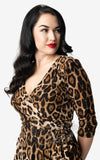 Unique Vintage Leopard Kelsie Dress neckline detail