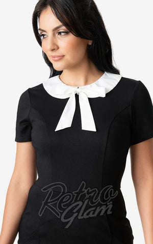 Unique Vintage Black and White Renata Dress neckline detail