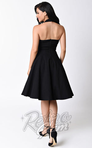 Unique vintage 1950s Style Black Rita Halter Flare Dress back