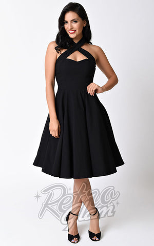 Unique vintage 1950s Style Black Rita Halter Flare Dress front