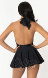 Unique Vintage Wendy skirted Swimsuit in Black front back