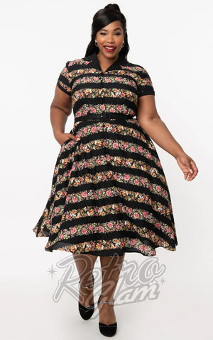 Unique Vintage Black & Floral Stripe Alexis Swing Dress curvy