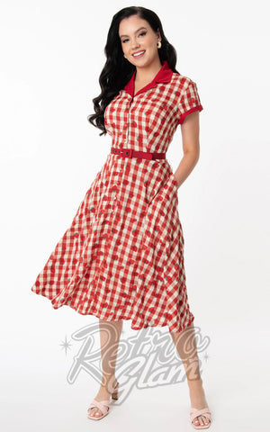 Unique Vintage Red Gingham and Strawberry Alexis Swing Dress