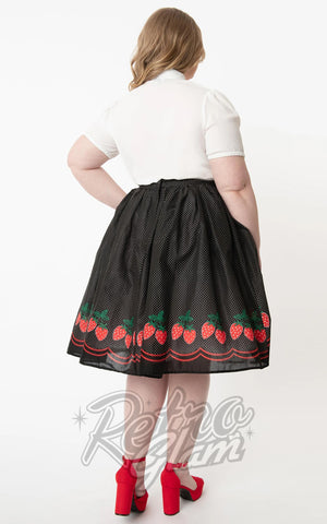 Unique Vintage Black and White Pin Dot Strawberry Border Swing Skirt