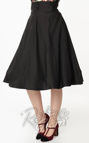 Unique Vintage Black High Waist Waters Swing Skirt