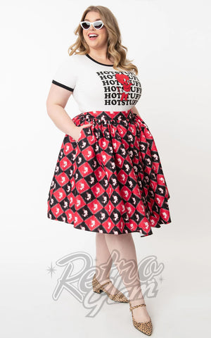 Unique Vintage Hot Stuff Little Devil Checkered Print Swing Skirt