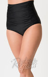 Unique Vintage Monroe high waisted ruched Bikini Bottoms in Black detail