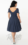 Unique Vintage Navy and White Pin Dot Sasha Swing Dress
