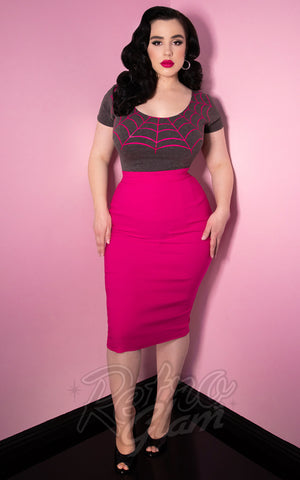 Vixen by Micheline Pitt Pencil Skirt in Hot Pink