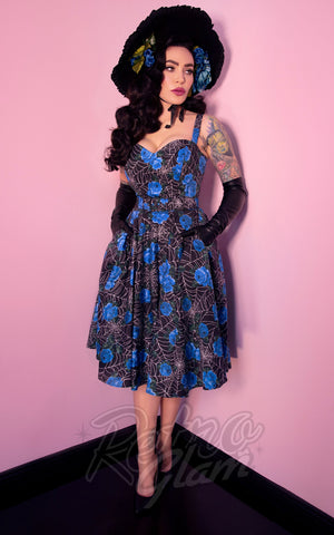 Vixen by Micheline Pitt Sweetheart Circle Dress in Spider Web & Blue Roses