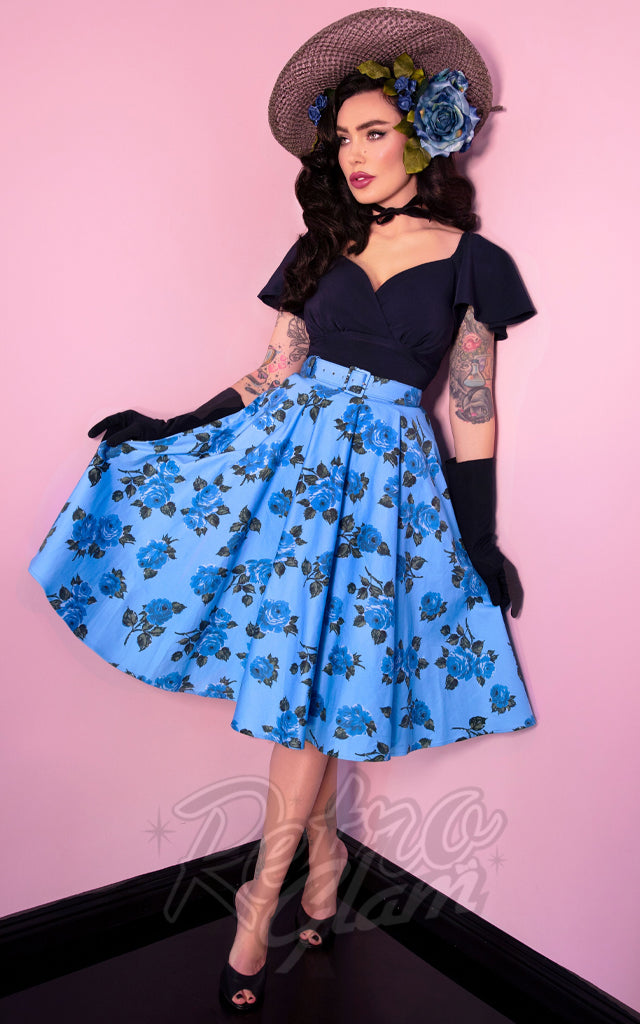 Vixen by Micheline Pitt Circle Skirt in Blue Roses