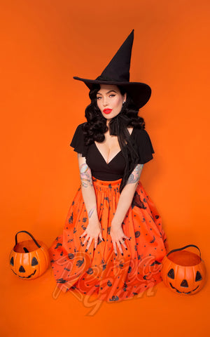 Vixen by Micheline Pitt Ben Cooper Swing Skirt in Vintage Halloween Print pumpkins