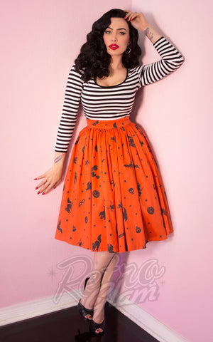 Vixen by Micheline Pitt Ben Cooper Swing Skirt in Vintage Halloween Print