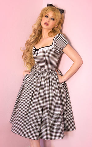 Vixen by Micheline Pitt Bardot Beauty Dress in Black Gingham
