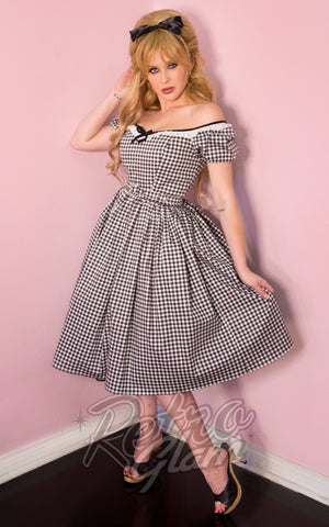 Vixen by Micheline Pitt Bardot Beauty Dress in Black Gingham front off shoulder