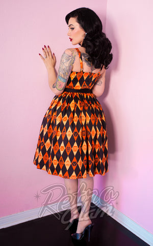 Vixen by Micheline Pitt Ben Cooper retro Sweetheart Dress in harlequin Trick R Treat Print Back