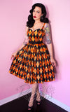Vixen by Micheline Pitt Ben Cooper 1950s Sweetheart Dress in orange harlequin Trick R Treat Print front