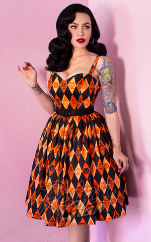 Vixen by Micheline Pitt Ben Cooper Sweetheart Dress in Trick R Treat Print