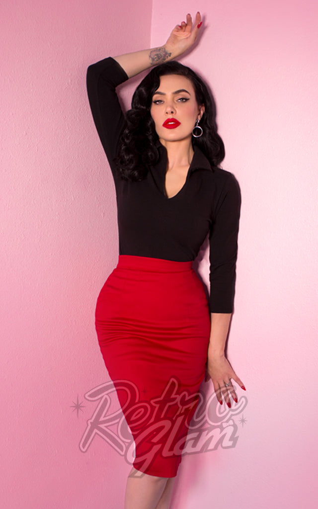 Vixen by Micheline Pitt Vixen Pencil Skirt in Red