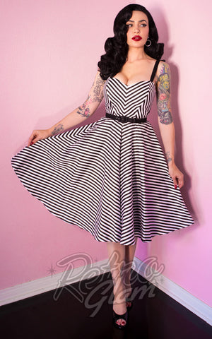 Vixen by Micheline Pitt 1950s Dollface chevron swing Dress in Black Stripes